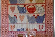 Quilts Hen and Rooster and Birds