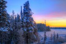kış, gün batımı