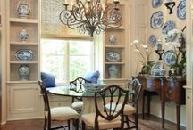 The Castle Blue China Display Room. / Just near the Butler's Pantry and Cookbook Library we have the Blue China Display Room, it's filled withe Blue and White china in a cream room with a hint of dark wood. There is a courtyard through the french doors that has a hint of blue china tiles throughout. Please pin to your hearts content.
