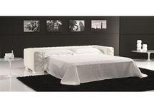 Modern White Italian Leather Sofa Bed