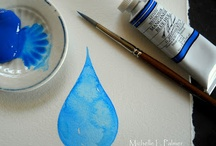 My palette... / Watercolor palettes are known to become messy~ Every one of those little messy puddles become a 'dish of color!' A new color that can be made into pigment, ready for the paper again with a single drop of water! I began using antique salt cellars for the convenience of washing & keeping my colors fresh. I began adding tiny dishes from children's tea sets and various butter pats. Your watercolor palette can be filled with creative mini-palettes! Michelle Palmer