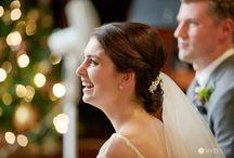 Wedding photos with Christmas trees