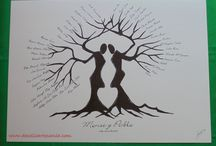 ÁRBOL DE HUELLAS / Monse se puso en contacto conmigo y me comento la idea de pintarle un árbol de huellas, donde sus invitados dejan su huella en él, como un libro de firmas, pero mucho más bonito. Al segundo dije que sí, pero estaba claro que no pintaría un árbol cualquiera. Este árbol representa a dos personas que se unen y forman un solo árbol. Con sus piernas forman un corazón, el lugar perfecto para las huellas de los novios.