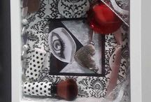 Crafty shadow box / Use odds and ends like old jewelry or gift wrap to make up and nail polish to style up box frames to create a personal touch to your home decor