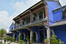Penang Islands / Blue Mansion or Cheong Fatt Tze Mansion  The Circa 1880s mansion built by the merchant Cheong Fatt Tze at the end of 19th century has 38 rooms, 5 granite-paved courtyards, 7 staircases & 220 vernacular timber louver windows. The architecture of the mansion however originates from the Su Chow Dynasty Period in China. Other features of the house include Gothic louvered windows, Chinese cut and paste porcelain work,