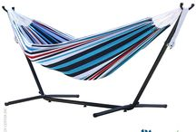 Outdoor Hangouts / Summer is here! Bathe in the morning sun with these colorful hammocks.