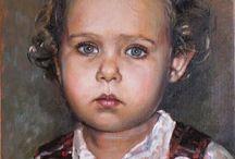 Oil portraits of children / Children, oil portraits