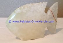 ONYX FISHES WHITE ONYX HANDCARVED STATUE SCULPTURE FIGURINE