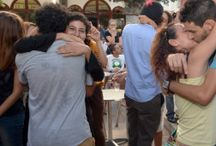 Kisses and hugs Young Moroccans staged a sit ... in solidarity with the teenagers were arrested because of a kiss