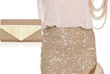How to wear beige glitter skirt