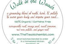 Walk in the Woods (herbal tea blend) / A warm blend of roots, fruit, and petals to invigorate and inspire you ... just like a brisk walk in the woods!  Available here: http://www.theteaalchemist.com/products/walk-in-the-woods