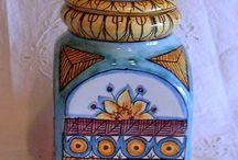 Barattolone Multiuso in ceramica dipinta a mano.