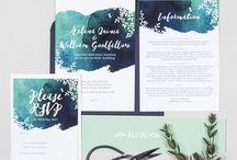 Design suite // Helena wedding collection / Navy and teal watercolour wedding stationery collection from Project Pretty