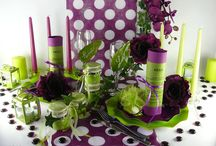 Thème pastillas cassis et vert anis / Une décoration de table acidulée : du cassis pour un peu de couleur et du vert anis pour la fraîcheur !