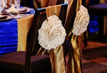 Gold & royal blue glam chair decor