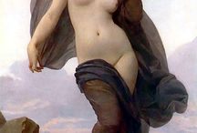 Painter: William-Adolphe Bouguereau / William-Adolphe Bouguereau (French pronunciation: [wijam.adɔlf buɡ(ə)ʁo]; November 30, 1825 – August 19, 1905) was a French academic painter and traditionalist. In his realistic genre paintings he used mythological themes, making modern interpretations of classical subjects, with an emphasis on the female human body.