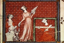 Medieval tablet weaving images / Medieval images of tablet weaving and related activities