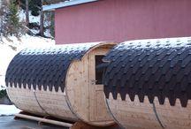 Sauna a botte e igloo / Sauna a botte e igloo per l'esterno con stufa elettrica o a legna.