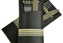 Pochetto gestreift / Diese Bestecktaschen sind mal was anderes auf den Gasttisch