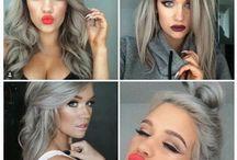haar en make-up / Grijsblond