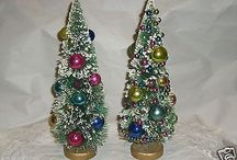 2 vintage bottle brush trees adorned with tons of glass ornaments 1930's check them out