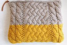 Knitted cable purses