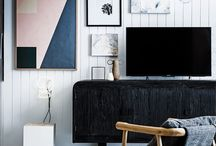 Walls with tv & art