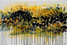 Art / A vivid monochromatic palette and impressionistic style- delightful addition to a black/white decor.