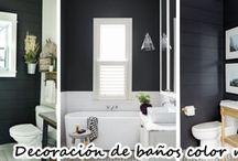 26 ideas para decorar baños con detalles color negro