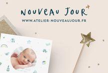 """Faire-part de naissance Nouveau Jour / Faire-part de naissance de """" Nouveau Jour """" www.atelier-nouveaujour.fr"""