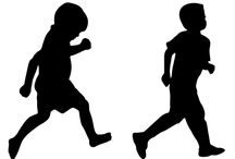 Children Silhoutte Vector / See, how cute they are! Two naughty child running silhouette for you to include in your kids designs. Both the kids are in running pose, one is running quickly and the other one, little slowly on their casual wears.