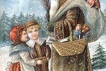 Vintage Chritsmas / Christmas tree,  antique chrismas decoration , vintage cards