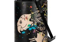 Bucket Bag - Vivid Parrot / Women Leather Handbags, Limited Edition Designer Leather Bag COLOURS OF MY LIFE - Limited Edition wearable art signed by Anca Stefanescu.