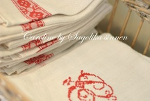 Monogrammed / Linen and silver ware and any thing that's has been beautifully stitched or engraved and or printed on.
