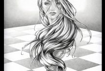 queen chess piece drawings