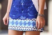 blue dress and white blazer