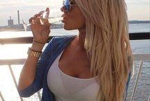 Layered blond hair
