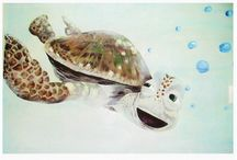 Turtles from my mural works / Devoted to turtles I've painted for both residential and commercial clients