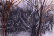 Achterglastekeningen / Te zien is een selectie van mijn achterglastekeningen uit de serie Herbarium en uit de serie Schaduwland. De tekeningen bestaan uit twee beeldlagen en zijn ook te zien op: margotdejagerherbarium.blogspot.nl Door de speciale manier van inlijsten - de bovenste perspex laag wordt op minieme afstand van de onderste tekening gemonteerd - krijgt de voorstelling een verrassende diepte.