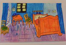Ma Ville est un musée / Travaux des enfants des écoles primaires de la ville D'Enghien-les-bains autour de #Matisse, #Van Gogh, #Picasso. Durant le mois de septembre tous les travaux sont affichés chez les commerçants de la ville.