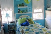 Rachel's bedroom makeover / Blue, yeollow/green and grey