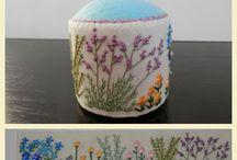 pincushion/cases in felt,wool,crochet