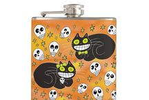 Halloween Themed Drinkware & Kitchenware at Three Cats Graphics' Zazzle Shop / Halloween related mugs, coffee cups, water bottles, and products you will find in the kitchen at Three Cats Graphics' Zazzle Shop. Products are customizable.