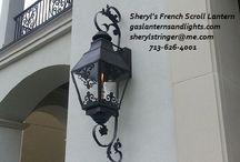 Sheryl's French Scroll Gas Lights / Sheryl's French Scroll Gas Lights, Available in different Sizes, Custom lanterns, Natural Gas Lights, Outdoor Gas Lighting www.gaslanternsandlights.com  713-626-4001  sherylstringer@me.com