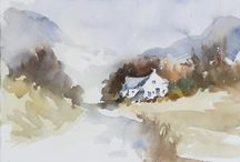 Wallace F. Brown-Contemporary Watercolours / (UK) His style is firmly rooted in the impressionist style of H. Brabazon, J. S. Sargent, P. W. Steer, E. Seago and E. Wesson. He was friends with Wesson and attended his classes.