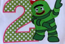 Birthday Party: Yo Gabba Gabba Rainbow Pajama Party / Yo Gabba Gabba Pyjama Party Colours: Rainbow (Specifically: Red, Pink, Blue, Green, Orange and Yellow for the characters)