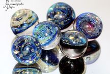SPACE, GALAXY,PLANET / Jewelry in the space-galactic style. Artisan lampwork beads, sterling silver.