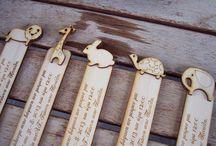 Wood invitations bookmarks