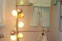 Lichtbolletjes Kinderkamer / Lichtslinger met katoenen bolletjes als nachtlampje