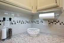 subway tiles with mosaic accent